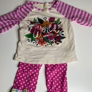 Matilda Jane Pink Floral Print Top Shirt Leggings